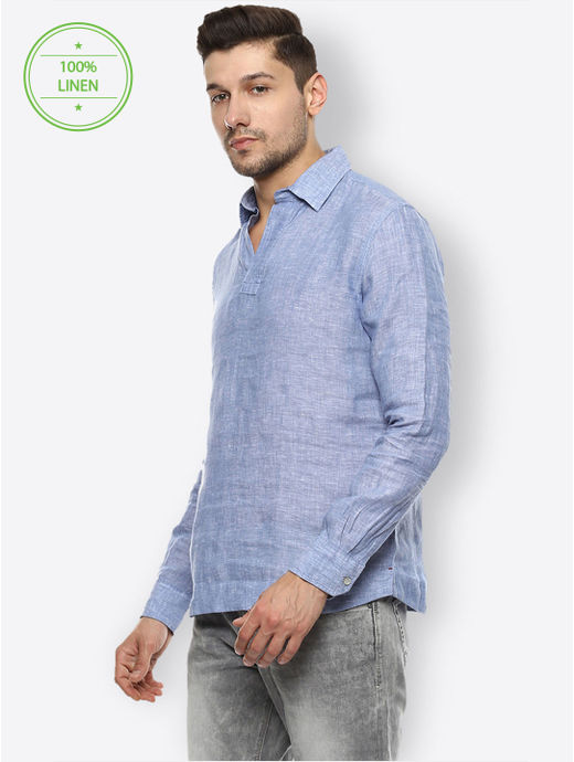 Blue Melange Casual Shirt