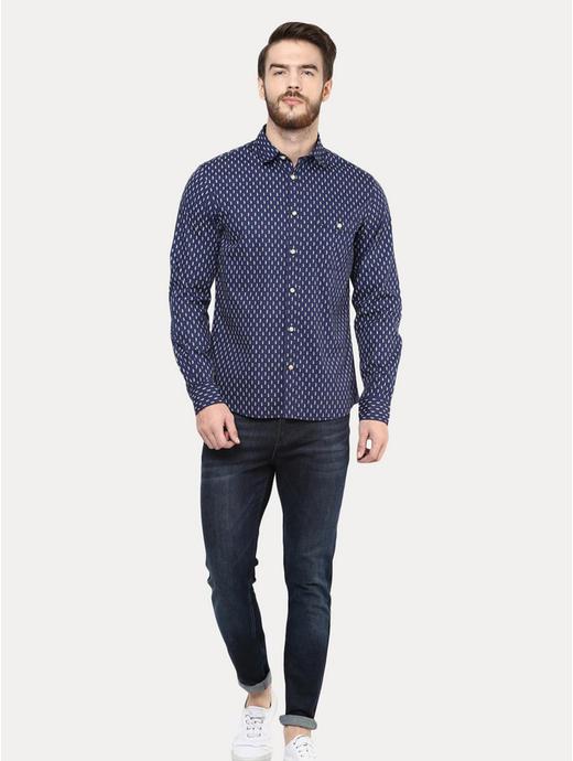 Blue Printed Casual Shirt