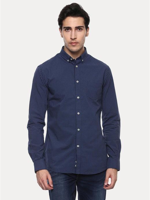 Favichy Blue Checked Casual Shirt