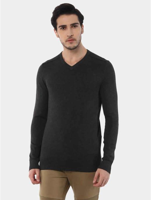 Jegivre Charcoal Solid T-Shirt
