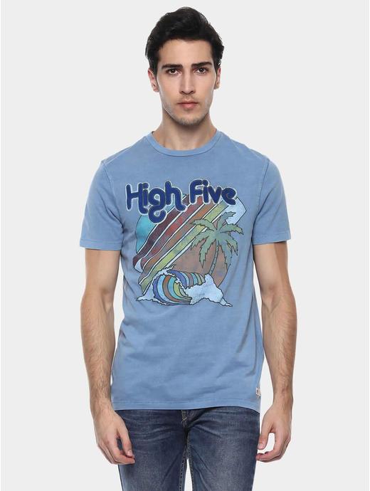 Jehighfive Blue Printed T-Shirt