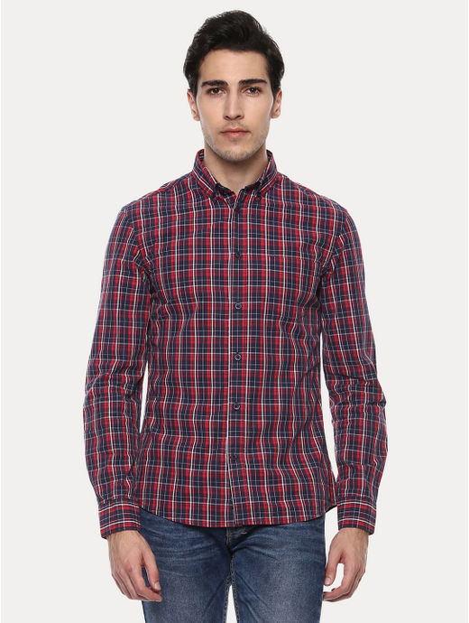 Japreppy Rouge Red Checked Casual Shirt
