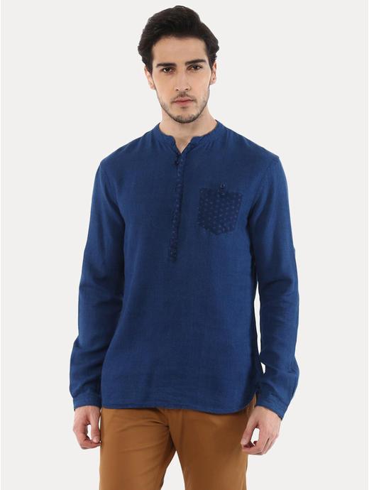 Jaindia Indigo Solid Casual Shirt