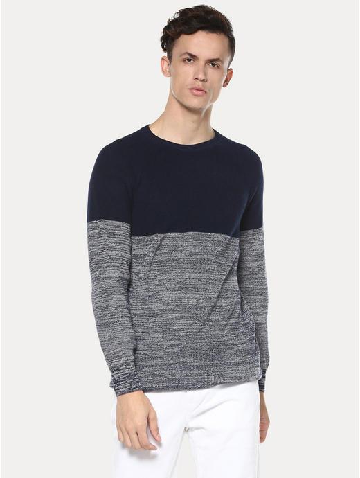 Navy and Grey Colourblock Sweatshirt