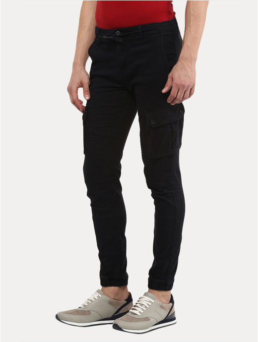 Black Solid Casual Joggers