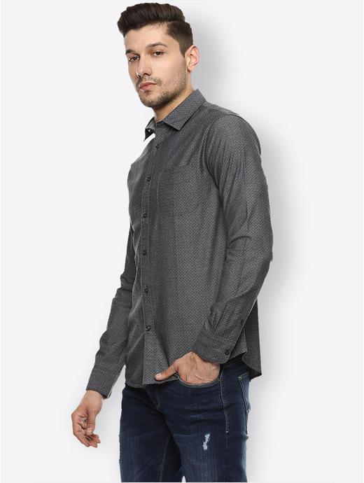 Dark Grey Solid Casual Shirt