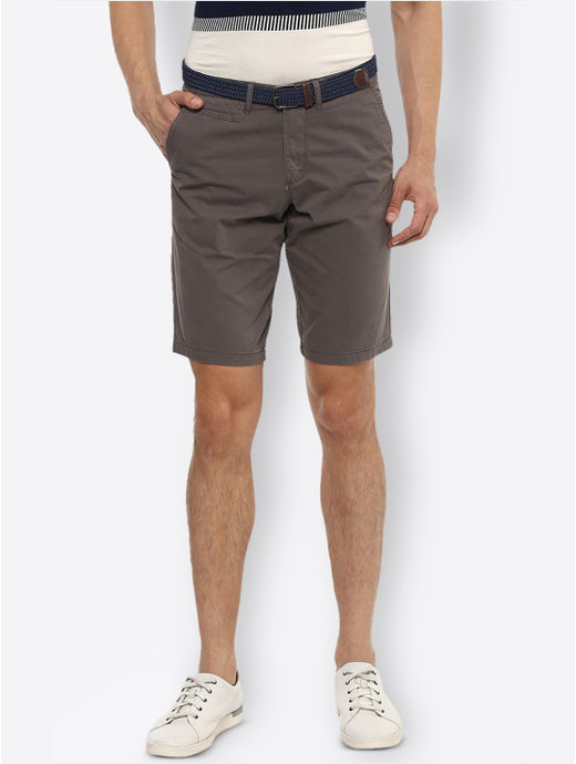 Brown Solid Shorts