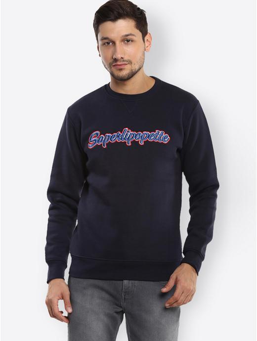 Navy Printed Sweater