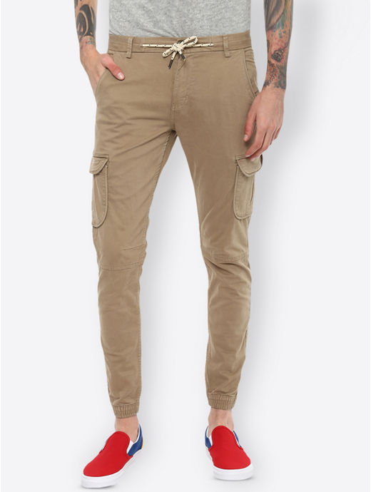 Beige Solid Casual Joggers