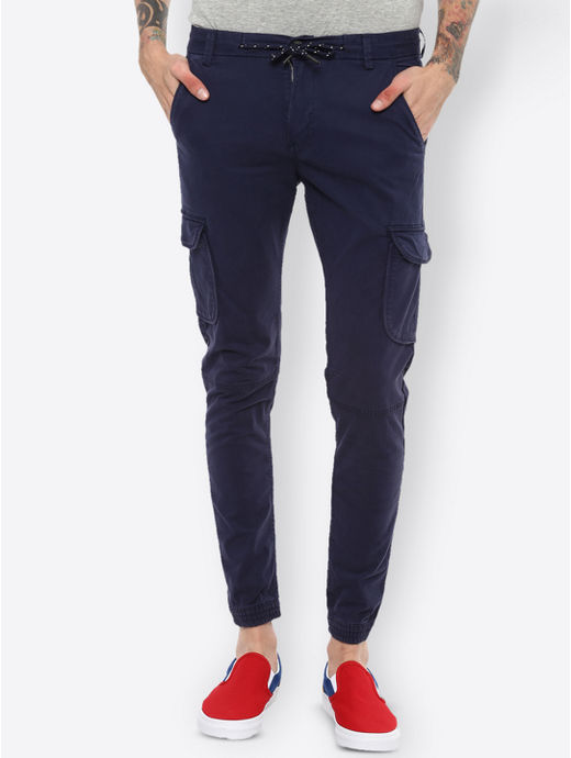 Navy Blue Solid Casual Joggers