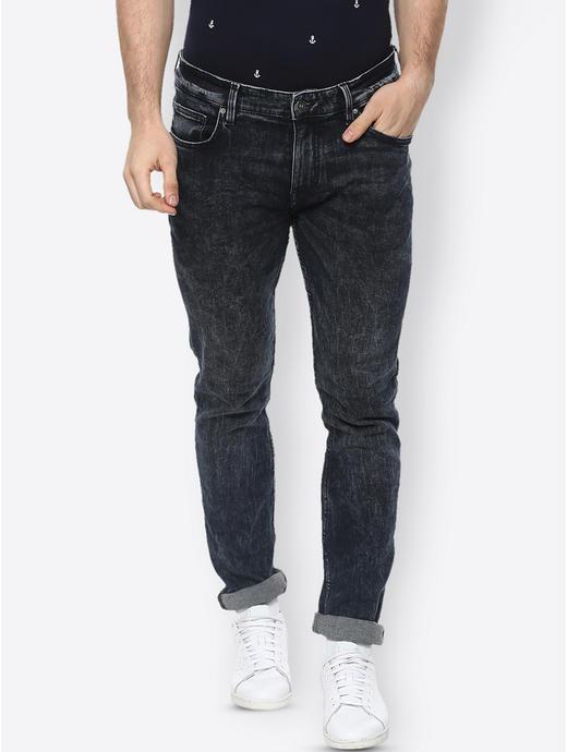 Dark Indigo Solid Straight Jeans