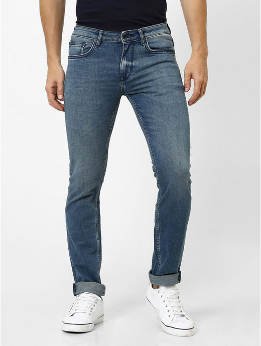 Soft Touch Dark Blue Solid Slim Fit Jeans