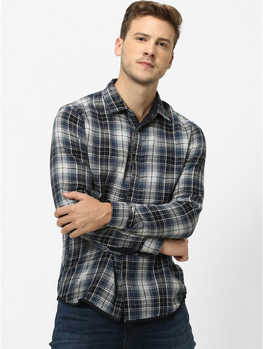 Navy Checked Regular Fit Casual Shirt