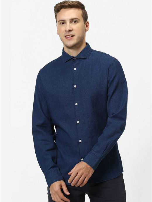 Indigo Solid Slim Fit Casual Shirt