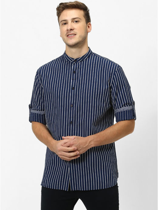 Indigo Striped Regular Fit Casual Shirt