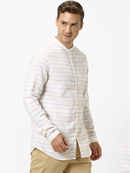 Brown Striped Regular Fit Casual Shirt