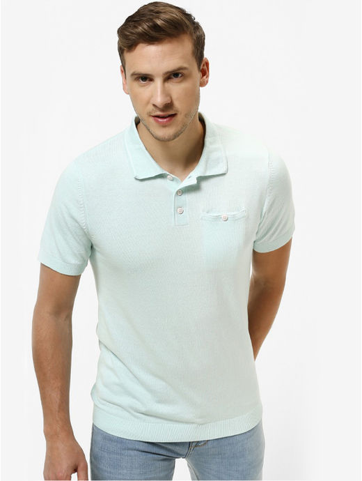 Aqua Solid Straight Fit Polo T-Shirt