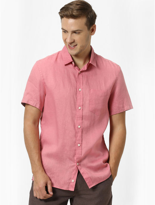 100% Linen Coral Shirt