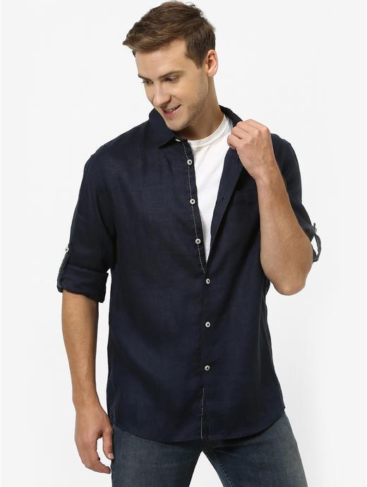 100% Linen Navy Shirt