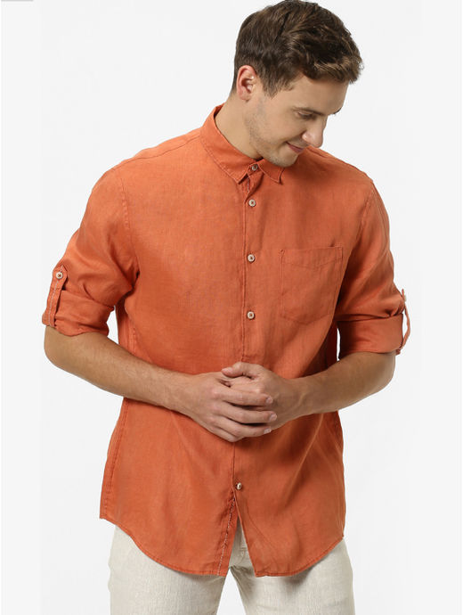 Rust Solid Casual Shirt