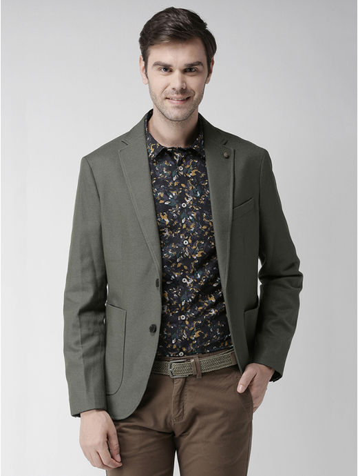 Khaki Solid Slim Fit Blazer