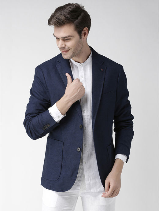 Blue Solid Slim Fit Blazer