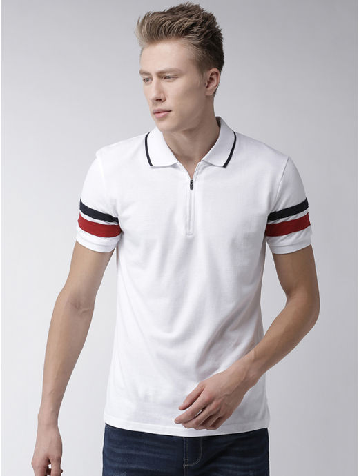 White Striped Polo Regular Fit T-Shirt