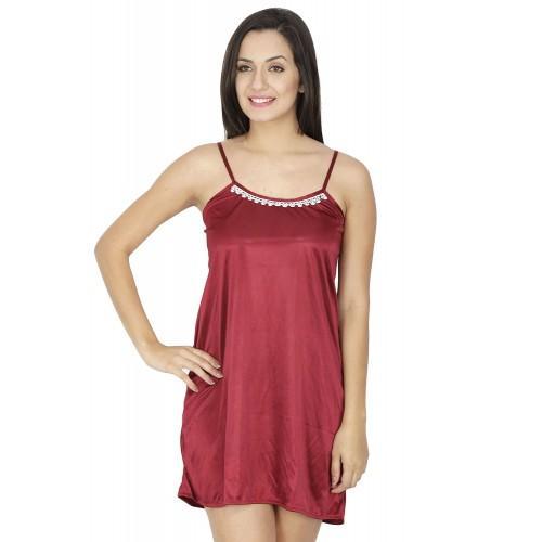 Secret Wish Women's Satin Maroon Babydoll Dress (Maroon, Free Size)