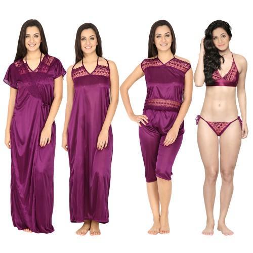 Secret Wish Women's Satin Purple Nighty, Nightdress Set Of 6 (Free Size)
