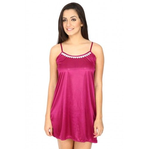 Secret Wish Women's Satin Purple Babydoll Dress (magenta, Free Size)