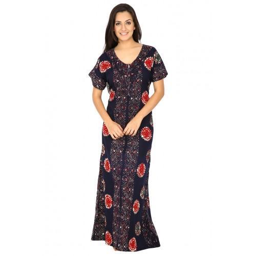 Secret Wish Women's Cotton Navy Blue Nighty, Nightdress (navy blue, Free Size)